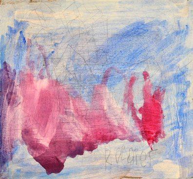 Rüdiger Blüml: Rosa Wolke. Bleistift und Acryl auf Sperrholz, 26x24cm